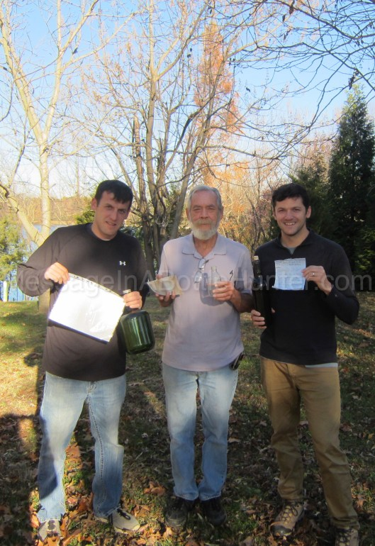 Evan, Bob, and Clint with messages in bottles from Message in a Bottle Day 2017