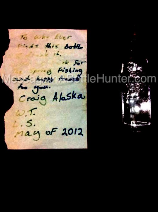 Mike's Message in a Bottle From Craig, Alaska