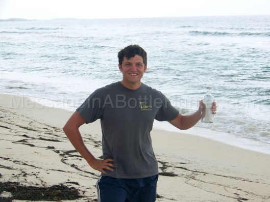Clint Buffington with Message in a Bottle from Norwegian Cruise Lines on the Beach in 2011.