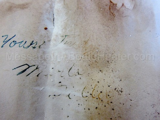 Close up of signature on Cole Harbour, Nova Scotia message in a bottle 4.