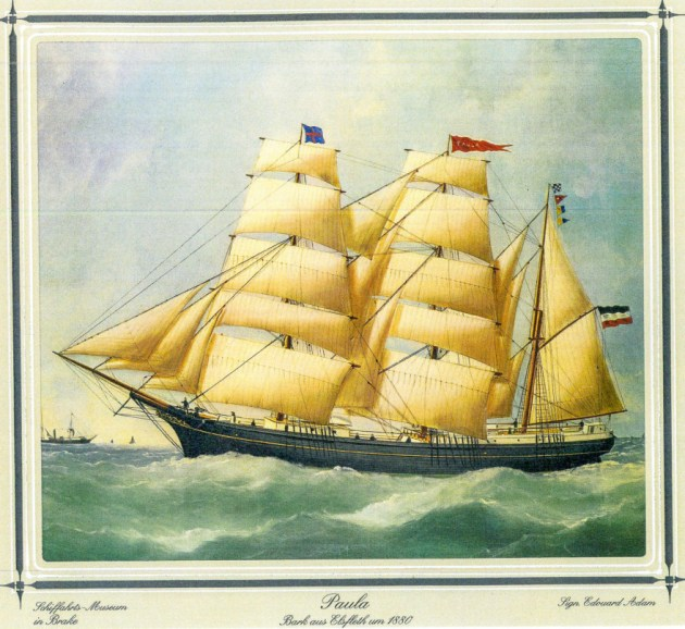 Painting of the German research vessel, Paula, that sent the world's oldest message in a bottle in 1886