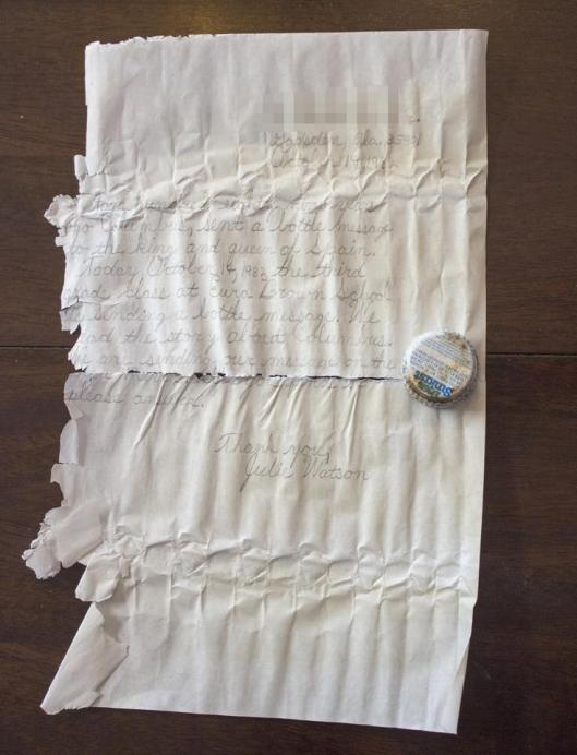 Julie Watson's 35 year old message in a bottle