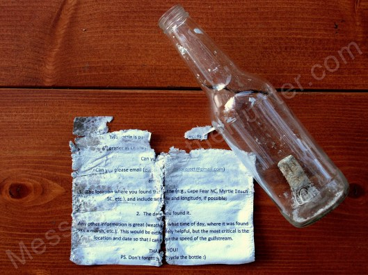 Student's Message in a Bottle Science Project Unrolled