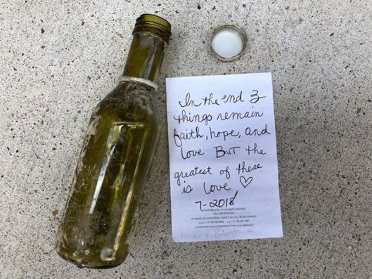 Biblical message in a bottle.