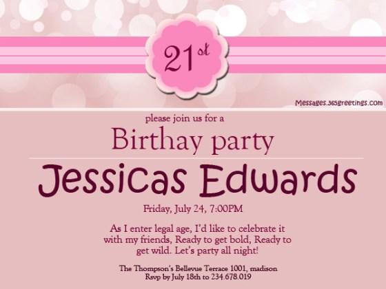 Invitation Sms For 18th Birthday Party Wedding Invitation Sample – 21 Birthday Invitation Wording