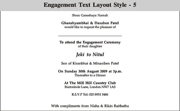 Indian Enement Invitation Wording Cordially Invited
