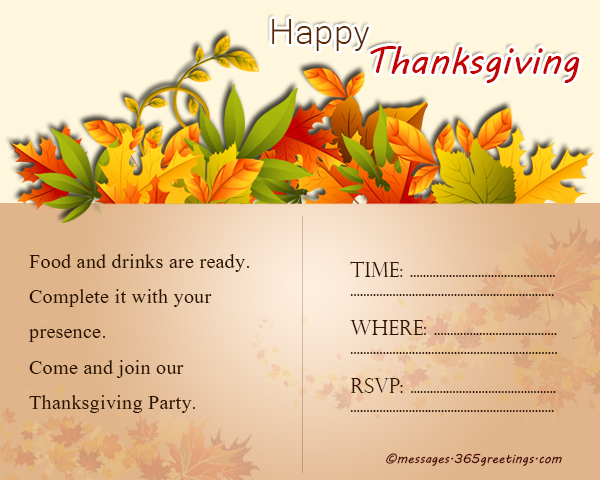 Thanksgiving Party Invitation Wording