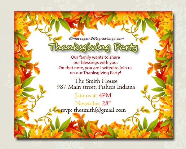 thanksgiving day invitation wording Cogimbous – Fall Party Invitation Wording