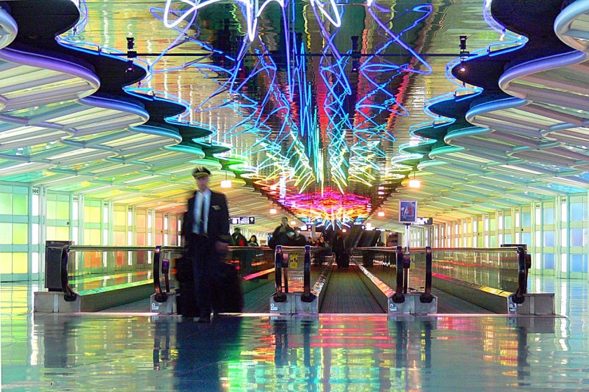 Chicago O'Hare airport tunnel of light