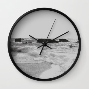 greek-seascape-black-and-grey-sea-rocks-ionia-island-lefkada-wall-clocks