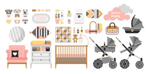 Baby care items including a crib, stroller and clothes