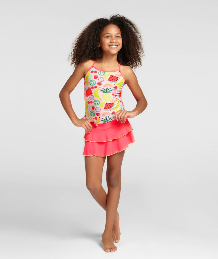 Girls' Fruit Print Tankini with Skirt