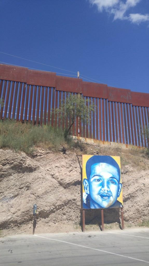 José Antonio mural and the border wall. Photo by Julia Walsh FSPA
