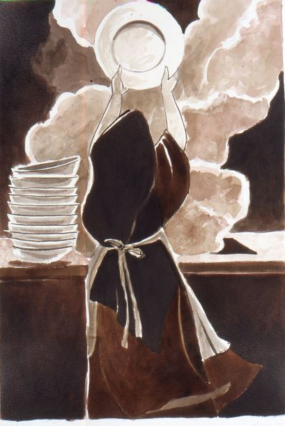 black-white-drawing-woman -black-cloak-washing-dishes