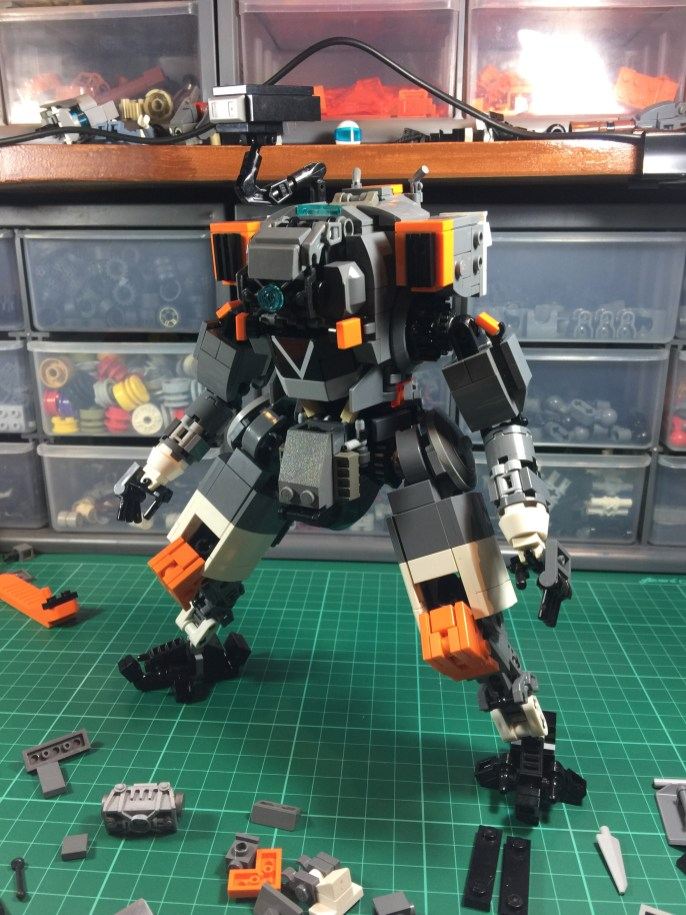 Initial finished build: front view with arms done.