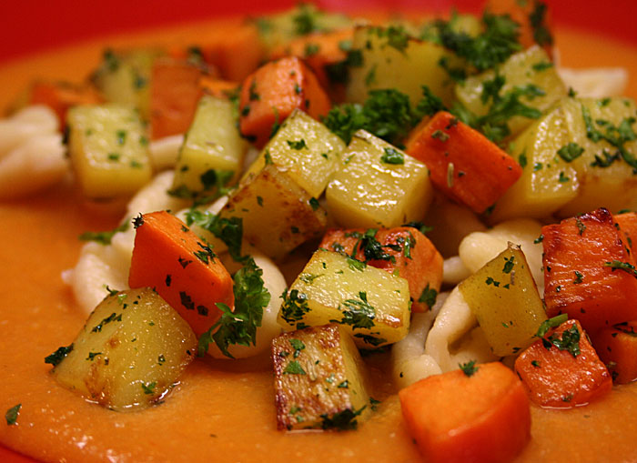 Orecchiette con batate e patate