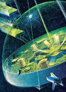 Life in Space Domed, Space City by Andrei Sokolov, 1981