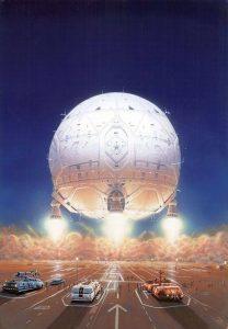Spherical Space Ships. Arte: Peter Elson