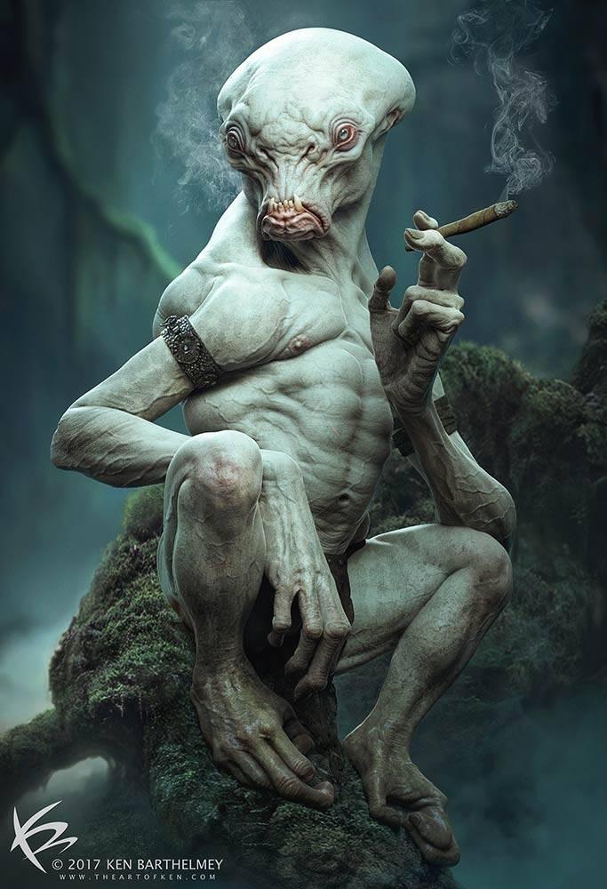 Ilustrações Alien 3D, Autor: Ken Barthelmey