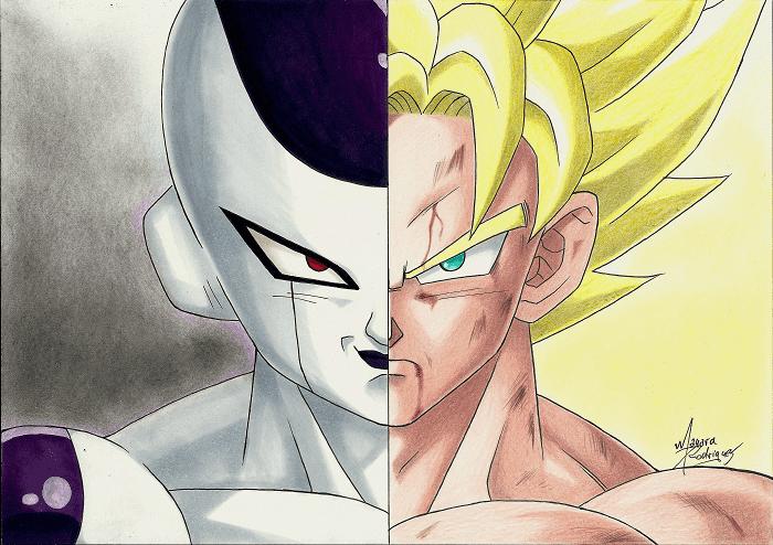 Freeza e Goku - Arte: Mayara Rodrigues