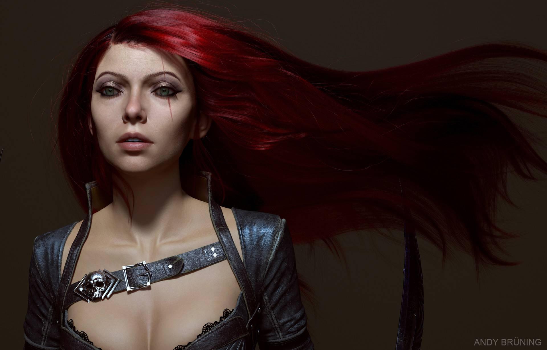 Katarina feita em ZBrush - League of legends Autor - Andy Brunning -
