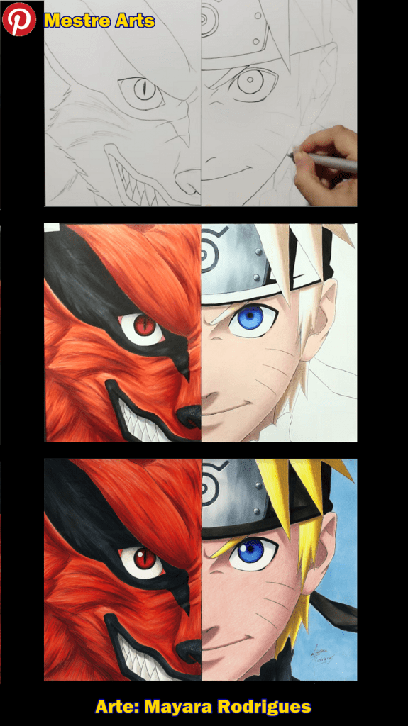 Naruto e Kurama Antes e Depois - Arte: Mayara Rodrigues