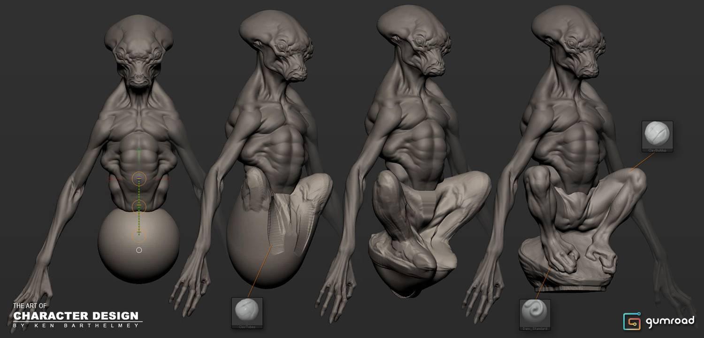 Alien ilustração em ZBrush