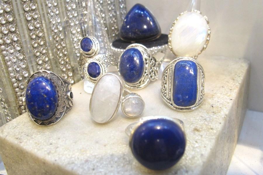 bagues argent pierre de lune et lapis lazuli