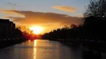 Cork - Sur les bords de la rivière Lee, coucher du soleil