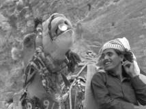 Pétra - Bédouin et chameau buvant du coca