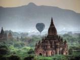 Bagan - Depuis le temple 'Pya-Tha-Da Pagoda', coucher du soleil