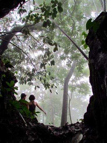 Chiang Mai environs - Rando dans la jungle., sortie de la grotte aux chauves-souris