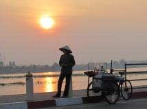 Vientiane - Rivière Mékong, coucher du soleil