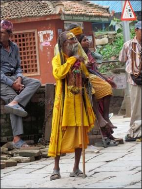 Katmandou - Durbar Square, monuments historiques, sadhu