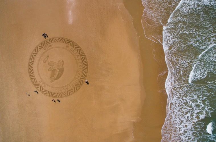 Plastic pollution beach art Spain 1