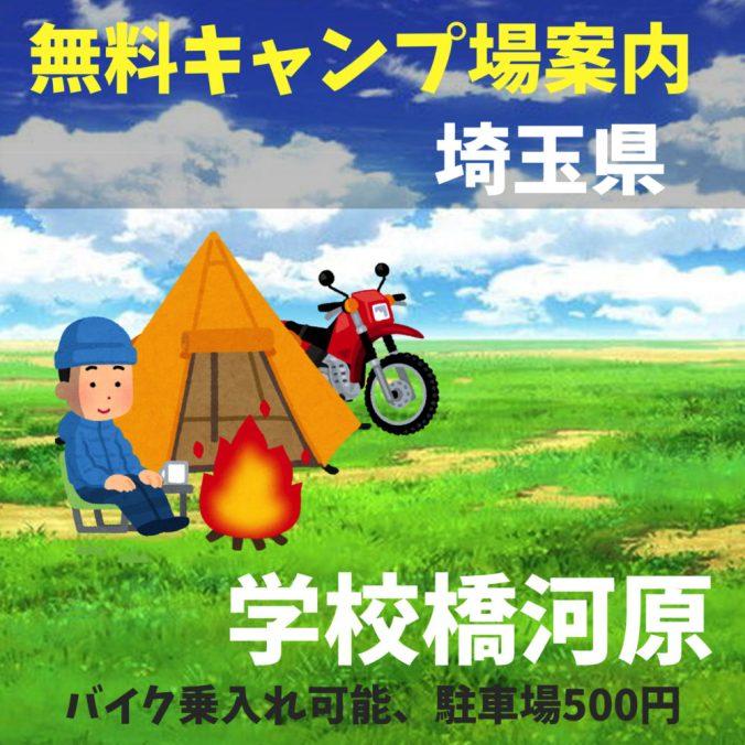 埼玉県の無料キャンプ場(学校橋河原)