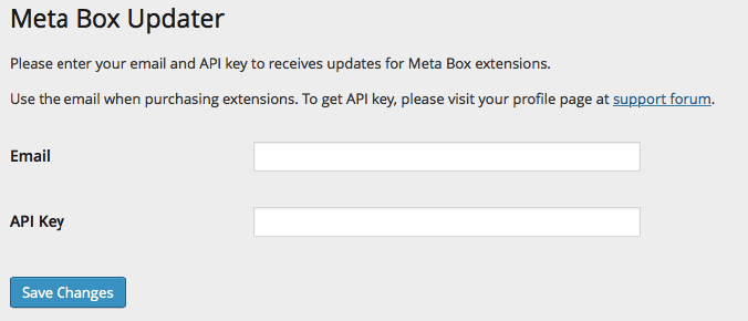 Meta Box Updater Settings