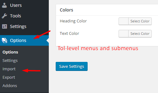 Top-level menus and submenus