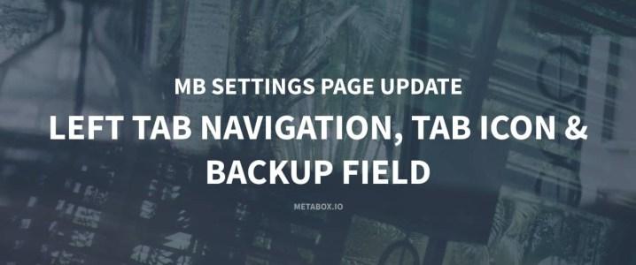 MB Settings Page: Left Tab, Tab Icon, Backup & Restore