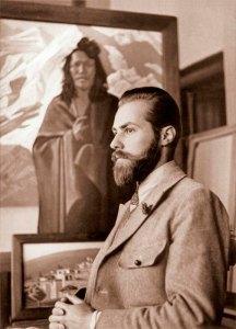 Святослав Николаевич Рерих у своей картины «Карма Дордже». Наггар, 1934