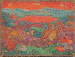 Панно Николая Рериха «Сеча при Керженце» (эскиз), 1911 г.