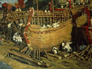 Картина Николая Рериха «Строят ладьи», 1902 г.