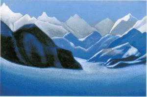 Картина Н.К.Рериха, Вершины # 27 [Гималаи (Снежные пики)] 1942