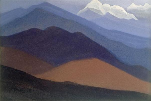 Картина Н.К.Рериха. Гималаи. [Гималаи [Горная пустыня]] 1935-1936