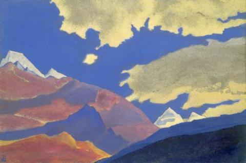 Картина Н.К.Рериха. Облака и горы. 1937