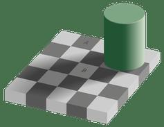 Aunque los cuadrados A y B son exactamente del mismo color, nuestro cerebro los interpreta como diferentes. Por trabajo derivado: Sakurambo, CC BY-ND