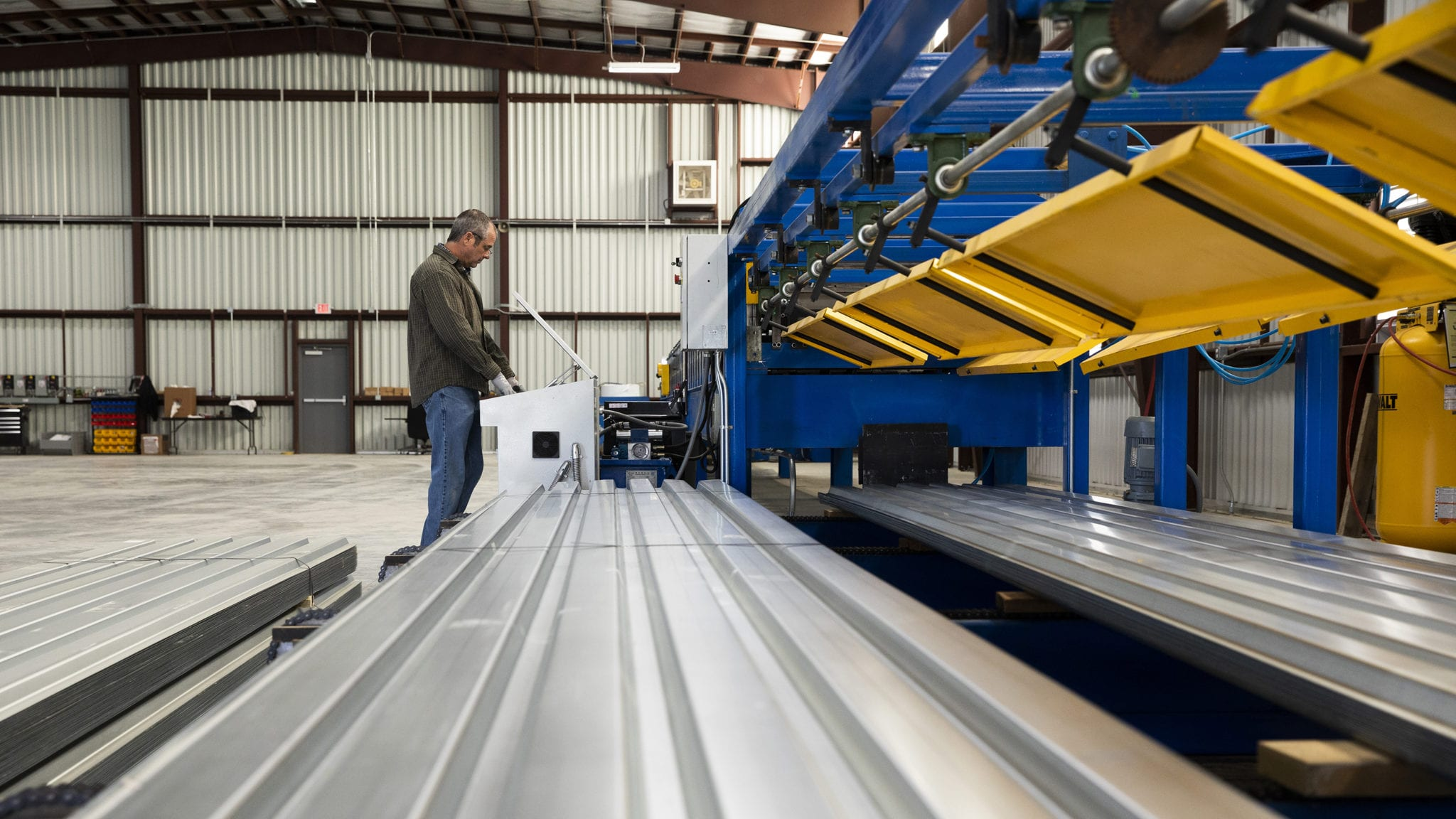 "Our roll forming machine can produce a variety of metal deck, including B-Deck, 1 ½"" Composite Deck and 1 ½"" Form Deck."