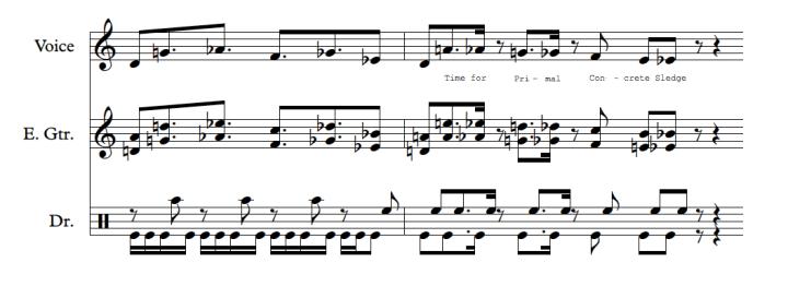 "End of the chorus to ""Primal Concrete Sledge"""
