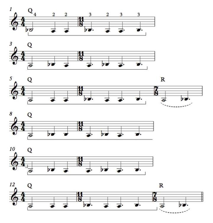 "Another way to notate the second riff from Meshuggah's song ""Nostrum."" This shows the repeating sequence ""Q"" more clearly."