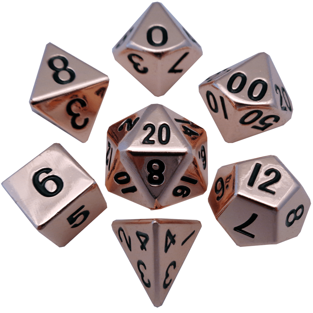 Copper 16mm Polyhedral Dice Set - Metallic Dice Games